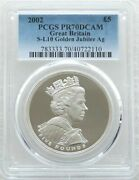 2002 Royal Mint Golden Jubilee Andpound5 Five Pound Silver Proof Coin Pcgs Pr70 Dcam