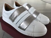 550 Bally Willet White And Silver Leather Sneakers Size Us 9.5 Made In Italy