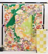 Furisode Kimono Robe And Obi Sash Set L Size Silk Floral Design Green Gold New F/s