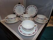 Rare Vintage1950's Corning 4 Cups And 6 Saucers Ruby Scroll Glass Blower Mark