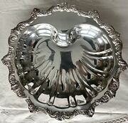 """Vintage Epca Silver Plate Poole Silver Company Shell Footed Dish 11"""" X 11.5"""""""