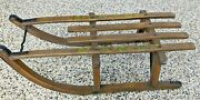 Vintage German Or Swiss Wood / Iron Child's Sled W/ Hand-painted Christmas Holly