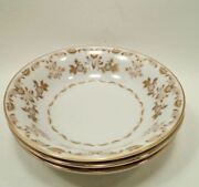 Vtg Classique Gold 3672 By Harmony House Fine China Japan 3 Dessert Berry Bowls