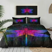 Mandala Dragonfly Animal Purple King Queen Twin Quilt Duvet Pillow Cover Bed Set