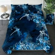 Blue Magical Floral Dragonfly King Queen Twin Quilt Duvet Pillow Cover Bed Set
