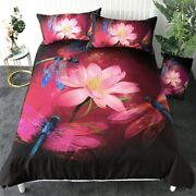 Lotus Floral Insect Dragonfly King Queen Twin Quilt Duvet Pillow Cover Bed Set