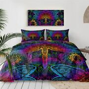 Purple Insect Mandala Dragonfly King Queen Twin Quilt Duvet Pillow Cover Bed Set