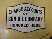 Vintage 30's Sun Oil Company Porcelain 2-sided Charge Account Sign Super