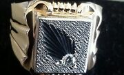 Mens Russian Soviet Era Rose And White 14k Gold Feather Ring With Diamond Size 11