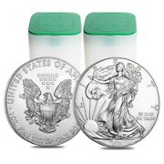 Lot Of 40 - 2021 1 Oz Silver American Eagle 1 Coin Bu 2 Rolltube Of 20