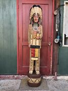 John Gallagher Carved Wooden Cigar Store Indian 6 Ft. Statue Very Fine Details