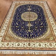 Yilong 6and039x9and039 Handmade Silk Blue Carpet Antistatic Home Decor Floral Rug Wy368c