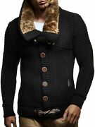 Leif Nelson Menandrsquos Knitted Cardigan   Long-sleeved Slim Fit Hoodie   Stylish Butt
