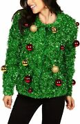 Womenand039s Gaudy Garland Cardigan - Tacky Christmas Sweater With Ornaments