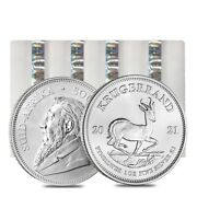 Lot Of 100 - 2021 South Africa 1 Oz Silver Krugerrand Bu 4 Tube, Lot Of 25