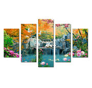 5 Panels Waterfall Landscape Painting Wall Art Picture Print Canvas Home Dandeacutecor