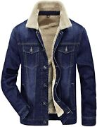Howand039on Menand039s Plus Cotton Warm Fur Collar Sherpa Lined Denim Jacket Button Down C