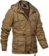 Magcomsen Menand039s Winter Cargo Jacket With Multi Pockets Thicken Military Jackets