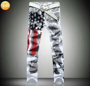 Menand039s Hole American Flag Jeans Designer Denim Trousers Star White Straight Pants