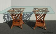 Vintage Chinese Chippendale Style Bamboo Rattan Dining Room Table
