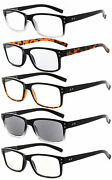 Eyekepper 5 Pack Retro Reading Glasses With Spring Hinges Men Include Sunglasses