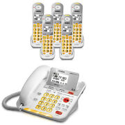 Uniden D3098-5 Dect 6.0 Amplified Corded/cordless Phone W/ 4 Extra Handsets