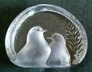 Swedish Mats Jonasson Crystal Birds Paperweight Etched Sculpture In Box