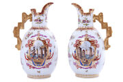 Antique 19th Germany Original Pair Porcelain Jugs Helena Wolfsohn Marked 27 Cm