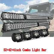 54inch 52 Dual-row Fold Led Light Bar + 42 + 4x 4 Pods 4wd Truck Suv For Jeep