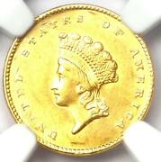 1855 Type 2 Indian Gold Dollar G1 Coin - Ngc Uncirculated Details Unc Ms