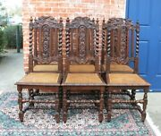 Set Of 6 French Antique Louis Xiii Dark Oak Caning Dining Chairs