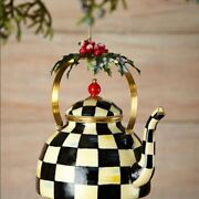 Mackenzie-childs Large Courtly Check Teapot Christmas Tree Ornament Retired