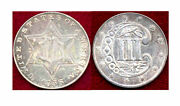 1856 Silver 3c-good Mint Luster With Very Light Toning 3cents++