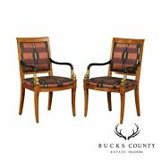 Century Furniture Neo-classical Style Pair Carved Dolphin Head Armchairs
