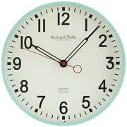 Sterling And Noble Clock Company 12 Retro Round Wall Clock, Glossy Mint - New
