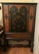 Antique Berkey And Gay Carved Cabinet. Painted Birds. Door1-drawer 62h 1920s