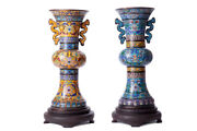 Antique 19th Original Chinese Pair Cloisonne Vases With A Floral Pattern 47 Cm