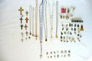 Vintage Religious Lot Of 72 Items Some Sterling Rosaries Crosses Medals Pins