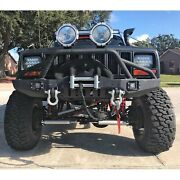 Fit For 1984-2001 Jeep Cherokee Xj Front Bumper W/ Led Lights And Winch Plate