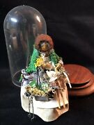 Vintage Doll Sewing Notions Plastic / Wood Display Dome Handmade Signed 9