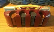 Vintage Red Bakelite Catalin Poker Chip Caddy With Embossed Clay Chips And Cards