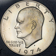 1974-s Eisenhower Brown Ike Silver Dollar Bu Toned Color Choice Unc Proof Mr