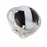 Italian Collection 18k White Gold Diamond Onyx And Mother Of Pearl Ring