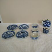 10 Piece Childs Tea Set Miniature Made In Japan Blue Willow Antique C1920 Read