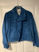 Nine And Company Nine West Wms Blue Faux Suede Double Breasted Coat Large Euc