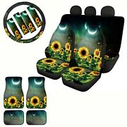 Sunflowers Car Seat Covers+floor Mat+steering Wheel Cover Auto 13 Pcs Full Set