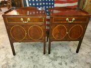 Councill Craftsmen Bed Side Tables Andndash Flame Mahogany W/ Maple Inlay