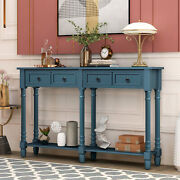 Console Table Sofa Table For Entryway Solid Wood W/drawers And Shelf Living Room
