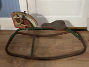 Vintage Mid Century Metal Lithograph Ride On Rocking Horse Rare