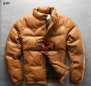 Mens Fly Puffer Quilt Genuine Leather Jacket Winter Down Warm Filling Sale Price